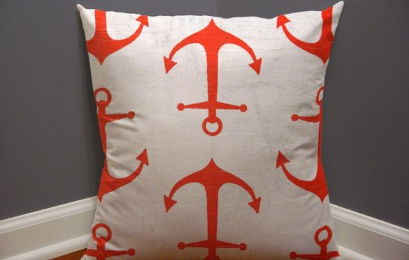 Salmon anchor pillow cover