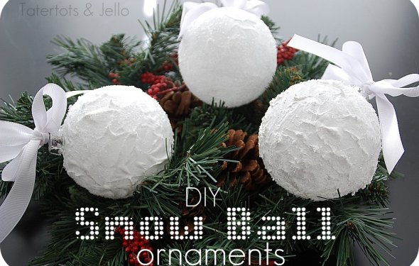 Snow Ball Ornaments {Homemade