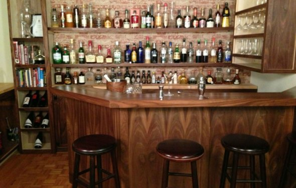 Wide Wooden Cabinet Home Bar