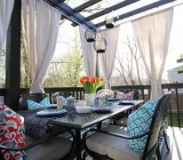 Deck Decorating Ideas: The Hampton Bay Fall River dining set under the brand-new pergola