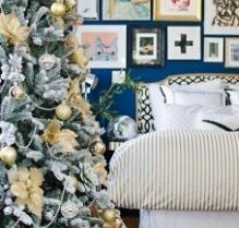 Decorating for Christmas: Depth made up of gifts, Tree and Backdrop
