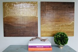 DIY Wall Art: Ombre Diptych made of stained wood