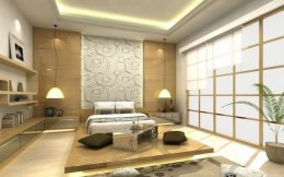 Japanese-style-bed-design-ideas-Japanese-bedroom-natural-materials-sliding-screens