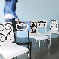 mismatched chairs coated to appear like a group