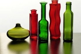 Reuse glass containers and containers to hold beauty products and office materials.