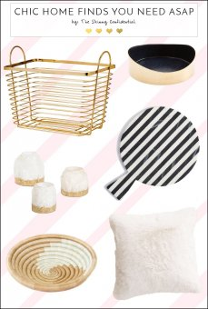 Super chic decor in your home finds you are bound to wish! A pillow, gold basket for laundry or storage, and more! by The Skinny Confidential