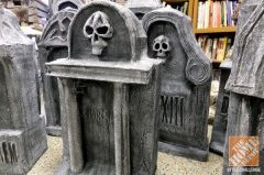 utilizing cardboard through the delivery cardboard boxes, Scott produced additional tombstones for their Halloween show